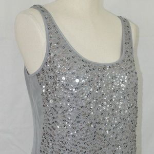 J Crew Collection Starland Tank Silver Sequined 4